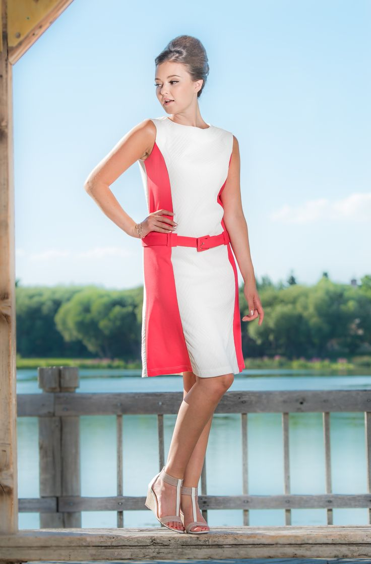 Colour Block Dress  Hot pink and white 60's dress.  Hot pink fabric belt included. Zip up the front.  Sleeveless