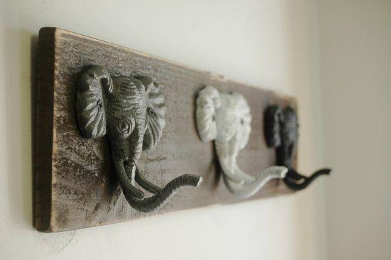 Elephant Hooks Rustic Wall Decor by SplintersAndNails on Etsy, $38.00