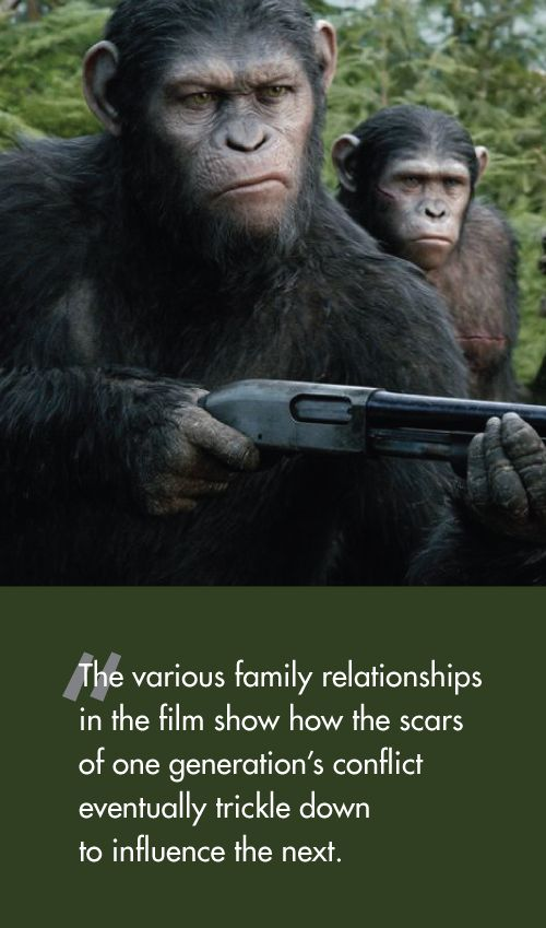DAWN OF THE PLANET OF THE APES opened only a week after a new string of violence in the Gaza strip. It as difficult not to make comparisons between the issues raised in the film and the real life peace process happening before our eyes.