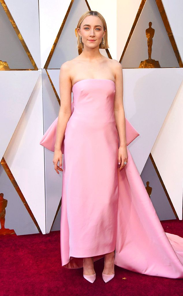 Saoirse Ronan from Standout Style Moments From Oscars 2018  This pink Calvin Klein dress was pure perfection on the Lady Bird actress.
