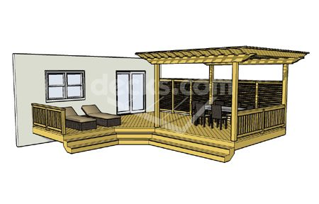 Free Deck Plan 1LX2324 deck with pergola and cascading stairs