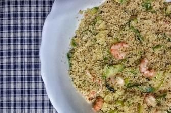 Zucchini and shrimps cous cous. Easy but delicious!