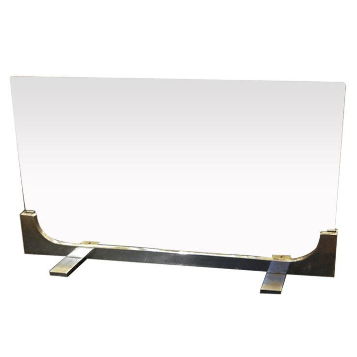 Modern Glass Fireplace Screen