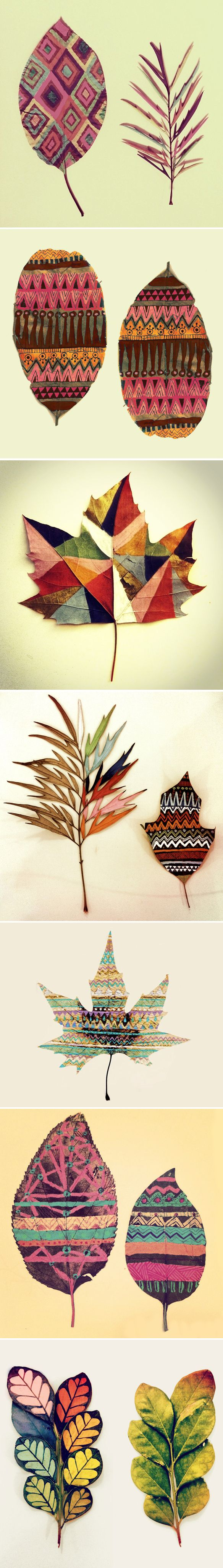 leaves as canvas! work by Gabee Meyer