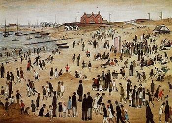 Beach scene by L.S. Lowry