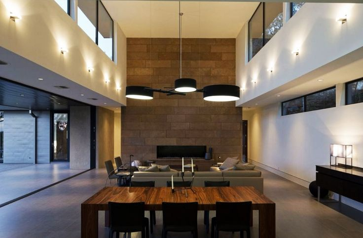 Home Design, Uncommon Connected Dark Pendants Installed Above Skyline House Formal Dining Roo Table With Chairs: Captivating Modern House Design Ideas with Infinite Swimming Pool