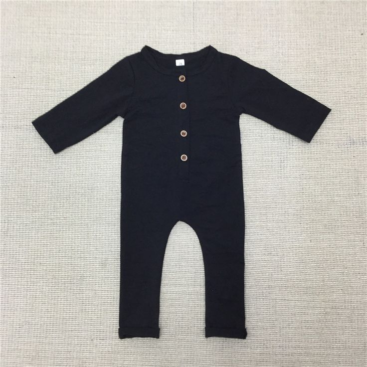 2017 New Baby Boys Rompers Newborn Cotton Long Sleeve Plain Black Gray Jumpsuit Toddler Autumn Clothes Free Shipping E38
