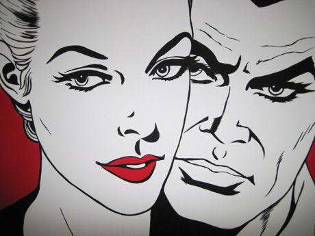 Diabolik-Eva-Kant-amore-coppia-love-labbra-paint-Pop-Art-Fumetti-Marvel-work-in-progress-pittura-quadri-dipinti-vendita-colori-bianco-nero-anime-manga