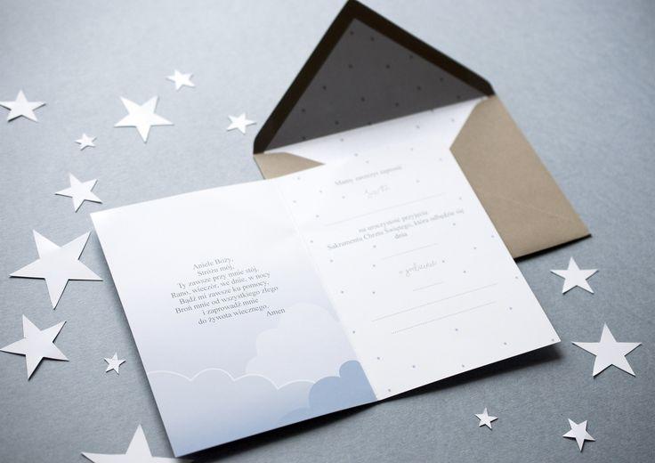 Zaproszenia na chrzest Miodunka papeteria ślubna miodunka zaproszenia Koszalin wedding baptism invitations stationery baby boy blue pastels