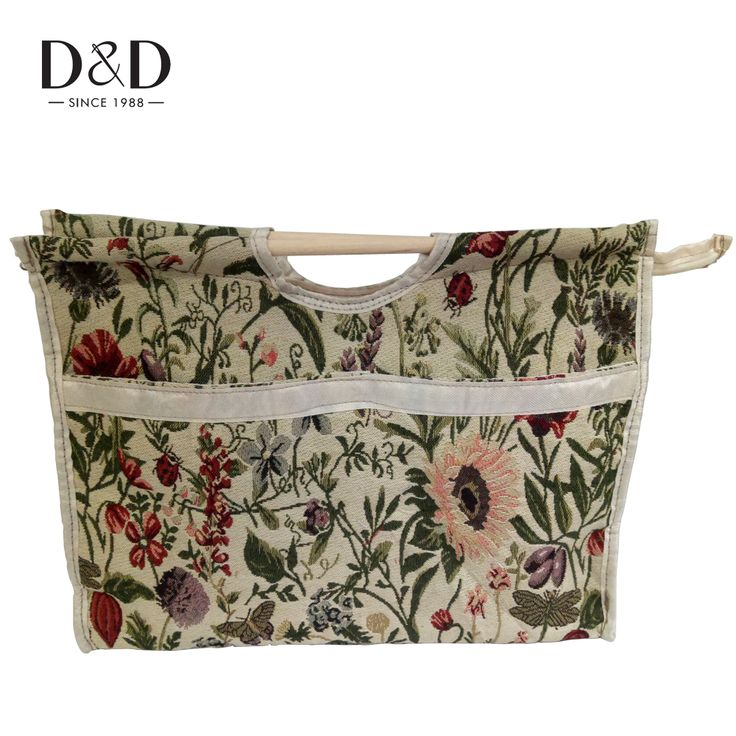 Flower Pattern Portable Storage Bags Wooden Knitting Needles Organizer Handle Bag Household 3 Colors