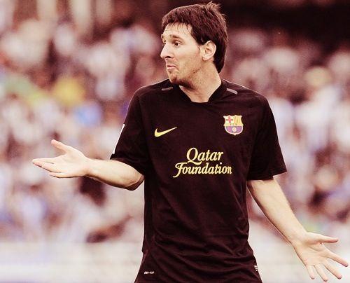 Messi  wearing his black FC Barcelona uniform