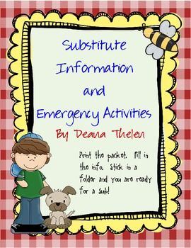 Substitute Folder and Emergency Activities With Kid Theme