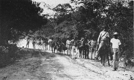 US Marines with their Haitian guide on patrol mission in 1915.
