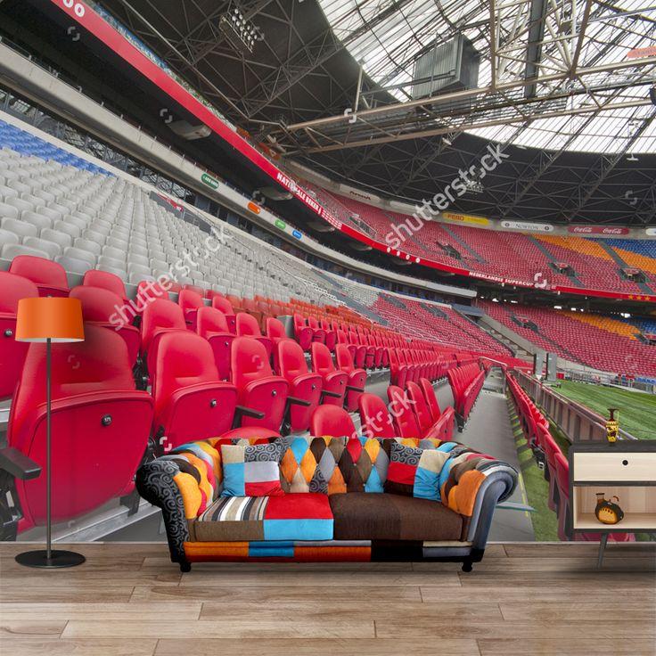 Fotobehang In de Amsterdam Arena   Maak het jezelf eenvoudig en bestel fotobehang voorzien van een lijmlaag bij YouPri om zo gemakkelijk jouw woonruimte een nieuwe stijl te geven. Voor het behangen heb je alleen water nodig! #behang #fotobehang #print #opdruk #afbeelding #diy #behangen #club #voetbal #stadion #amsterdamarena #amsterdam #arena #ajax #voetballen #sport