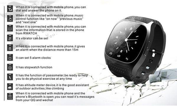 M26 Bluetooth R-Watch SMS Anti Lost Inteligentní sportovní hodinky pro Android…