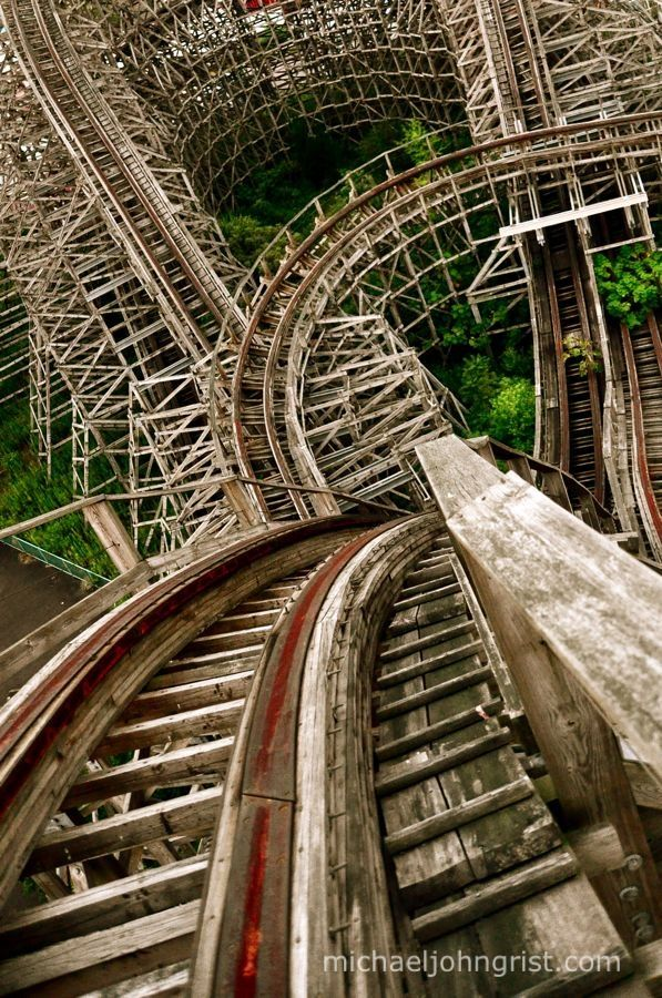"""atop of the wooden roller coaster """"Aska"""" in Nara Dreamland in Japan....however it is now an abandoned theme park"""