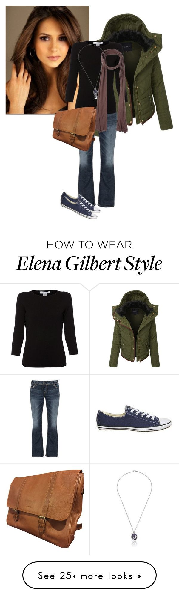 """""""Elena Gilbert TVD S1"""" by samanthadotrae on Polyvore featuring LE3NO, Silver Jeans Co., Converse, Belford, Cole Haan and Bobi"""