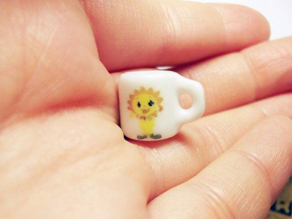 smiling sun flower miniature porcelain mug by rabbitssupplies