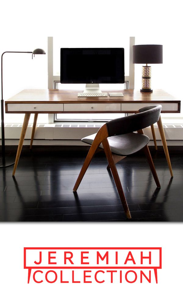 """With the classic Mid Century style, gloss white or walnut drawers, and a 8"""" cable management cubby in the back, this is the desk for you. Keep your home office space neat and tidy!!"""