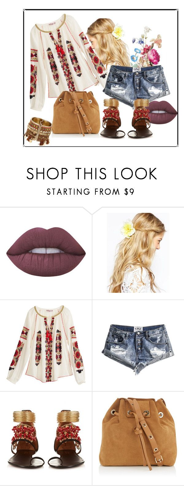 Rustic Romanian Ie by raluca-belu on Polyvore featuring Calypso St. Barth, One Teaspoon, Aquazzura, Vanessa Bruno, ASOS, Lime Crime and rustic
