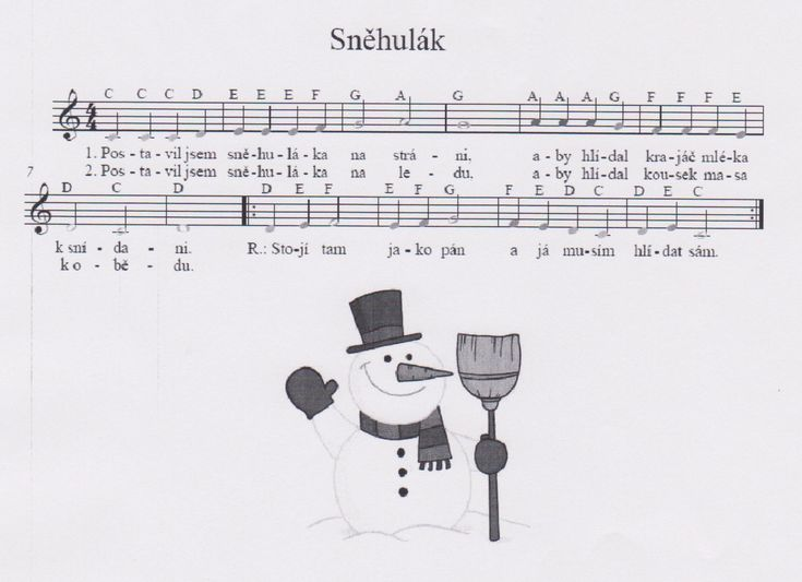 písnička sněhulák noty - Hledat Googlem