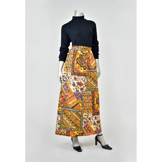 Vintage Patchwork Skirt - Hippie Skirt - 70s Maxi Skirt - Floral Print Tribal Skirt - Long A Line Skirt - Quilted 1970s Skirt - Alex Colman Festival Skirt - Bohemian Skirt (M)  #vintage #etsy #clothing #fashion #style #skirt #skirts #boho #bohemian #festival #hippie