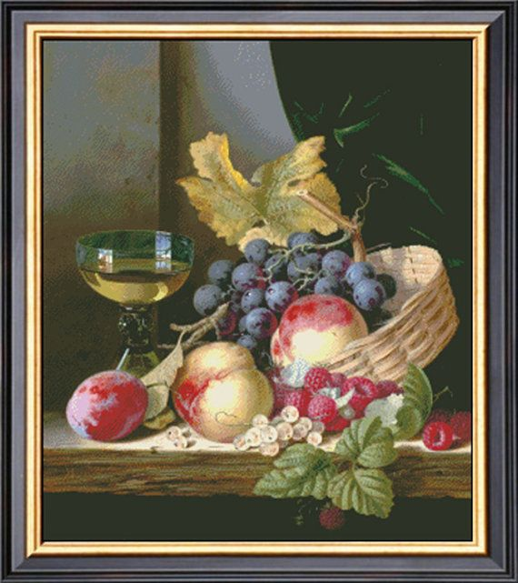 A+Basket+Of+Peaches+And+Grapes+By+Edward+Ladell+Counted+Cross+Stitch+Pattern+PDF