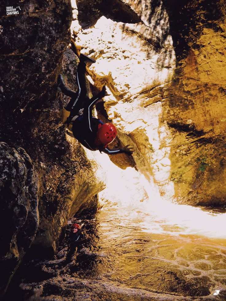 Extra points for style on this flip in the canyons up at Cradle Mountain with Cradle Canyons Discover Tasmania #travel