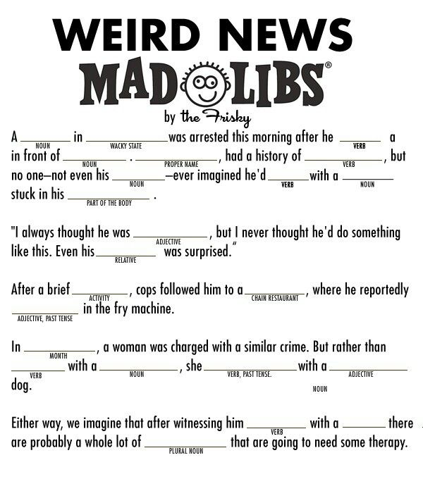 13 best mad libs printables images on Pinterest | English ...