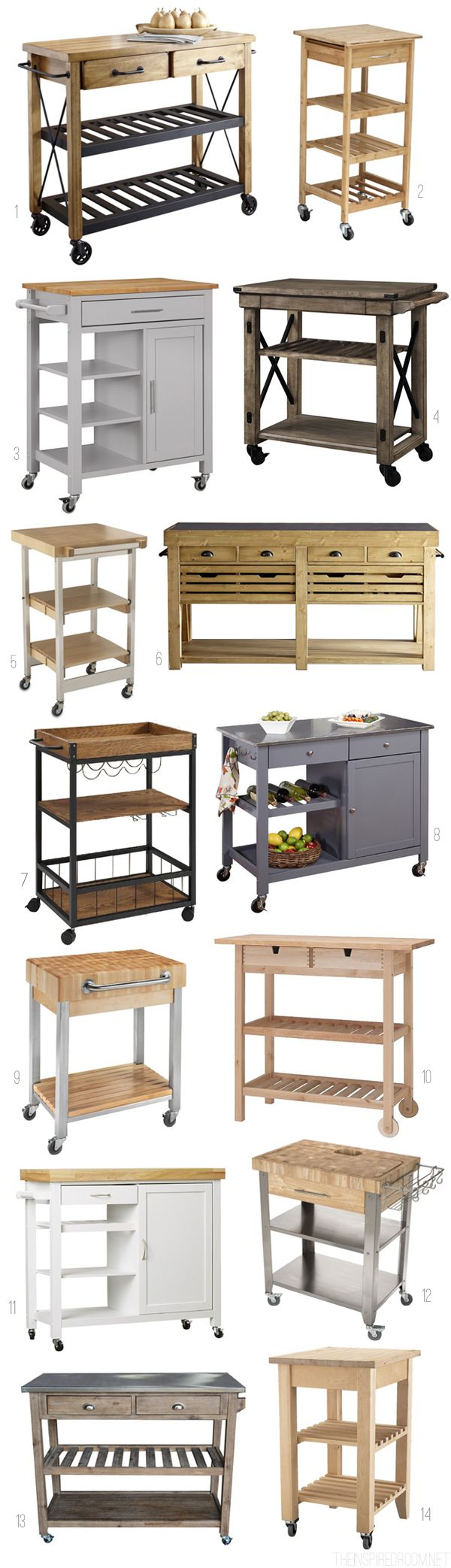 Freestanding Islands and Kitchen Carts - Round Up by The Inspired Room