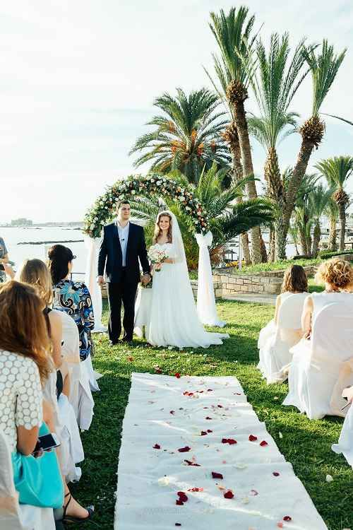 Beach Wedding At The Charming Place Overlooking Sea Paphos Cyprus