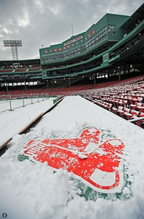 Fenway is looking frigid! Can't wait for spring to melt away that snow. @bostonredsox