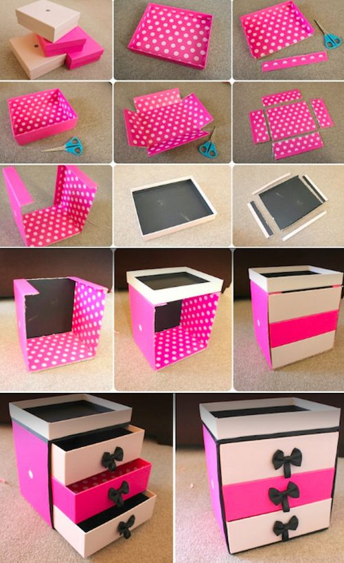 This one uses old Birchboxes but, as with the organizer above, any kind of small boxes will work just as well