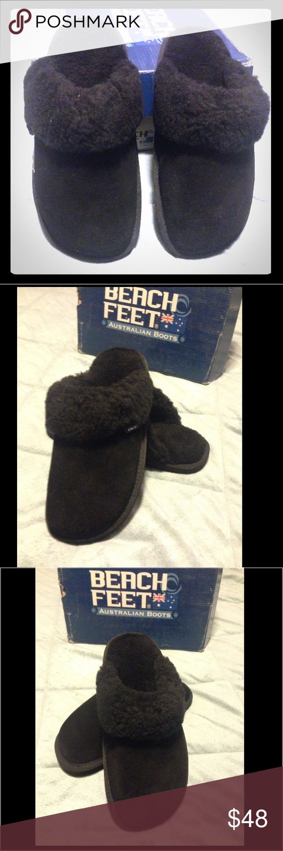 Beach Feet Australian Boots Black Slippers-NICE!-7 Beach Feet Australian Boots Black Super Soft Slippers, Size (7), Brand New In Box Beach Feet Australian Boots Shoes Slippers