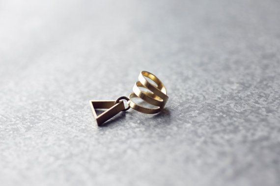 Ear Cuff with triangle, brass simple everyday single cuff, gold tone
