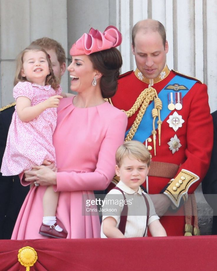 William, Catherine, George, and Charlotte on the balcony of Buckingham Palace, following the Trooping the Colour parade, 17 June 2017.