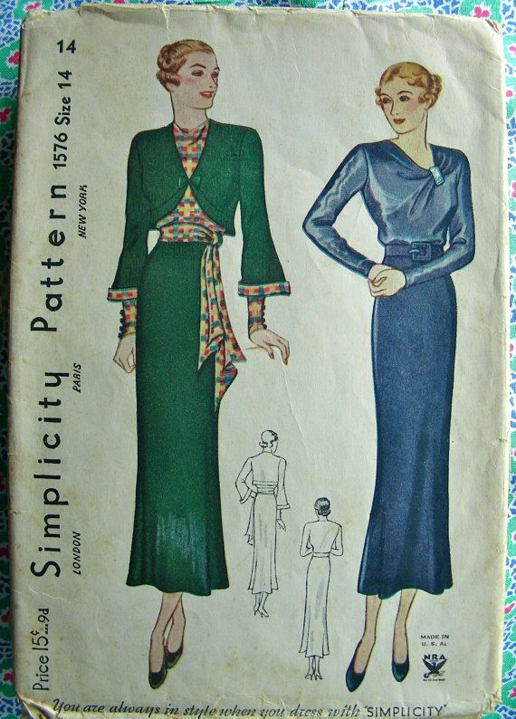 Ff vintage 1930 39 s sewing pattern 1576 glamorous art deco for Art 1576 cc