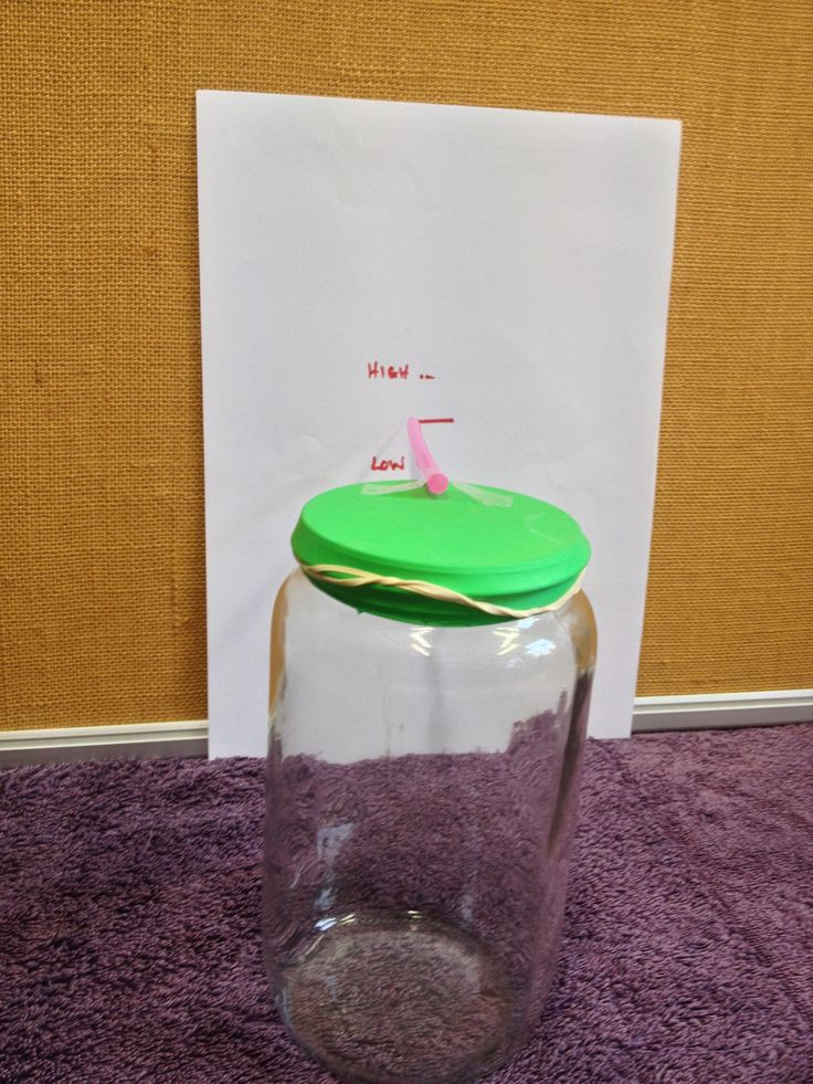 Making a barometer - STUDENT ACTIVITY: Barometers work on the principle that the air pressure can change. High air pressure tends to indicate fair weather, and low air pressure can indicate poor or rainy weather. A barometer shows the relative difference in air pressure outside the barometer compared to inside. In this activity, the barometer is a sealed jar with a balloon lid, and the changes in air pressure can be seen by changes in the shape of the balloon.