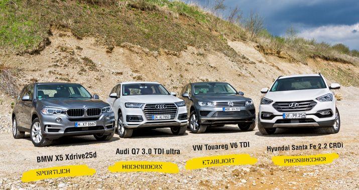 Ist Korea schon so weit? Megatest: Audi Q7, BMW X5, Hyundai Santa Fe, VW Touareg Große, luxuriöse deutsche SUV stehen nach wie vor hoch im Kurs bei den Autokäufern. Dagegen wirkt der Hyundai wie ein Sparangebot. Kann der Koreaner mithalten?