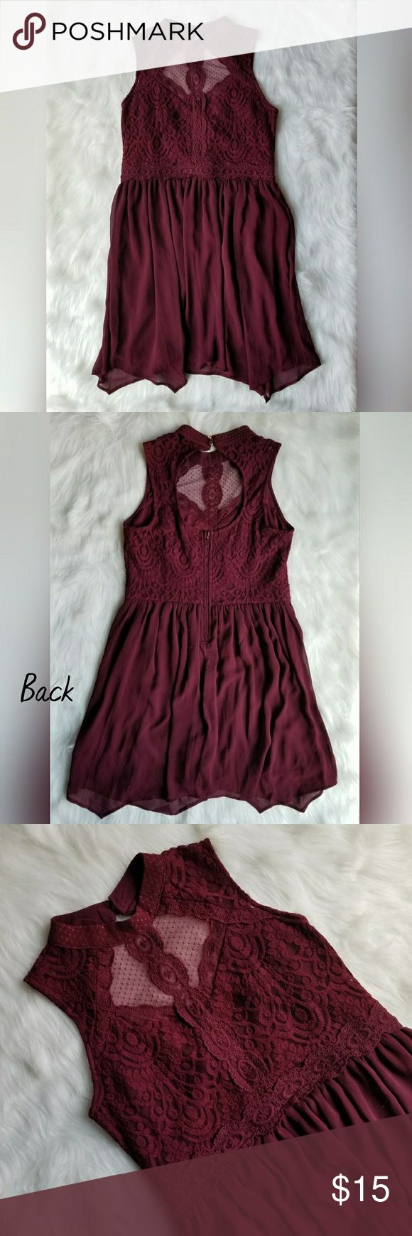 Xhilaration Maroon Lace Dress 🌟Excellent unworn condition with tags 🌟Beautiful lace detailing 🌟Open back 🌟Rose gold buttons at back neck 🌟Smoke free home Xhilaration Dresses Mini
