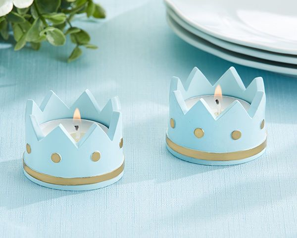 Baby Shower Favors Tea Lights ~ Details about closeout little prince blue crown candle