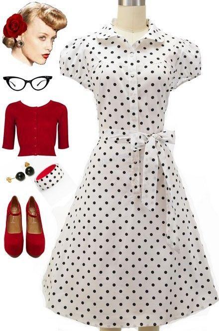 50s Style WHITE & Black POLKA DOT CapSlv Full Skirt Rockabilly PINUP Shirt Dress | Clothing, Shoes & Accessories, Women's Clothing, Dresses | eBay!