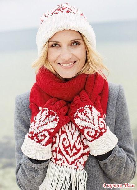 Зима ещё не закончилась и можно успеть покрасоваться в таком комплекте из шапки, шарфа и печаток, выполненном в красно-белой гамме. ШИРИНА ШАПКИ Примерно 55 см  ШАРФ