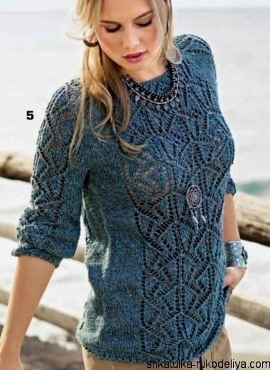 08b04899a4f Пуловер ажурным узором спицами. Женский пуловер спицами описание ...