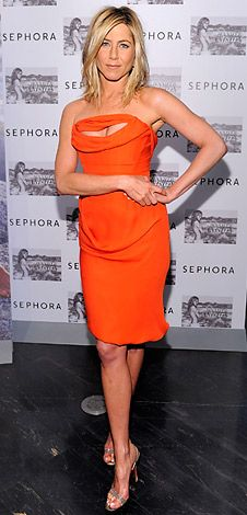 AnistonHair Ideas, Westwood Dresses, Fashion, Jennifer Aniston, Orange Dresses, Style, Aniston Wear, Vivienne Westwood, Jenniferaniston