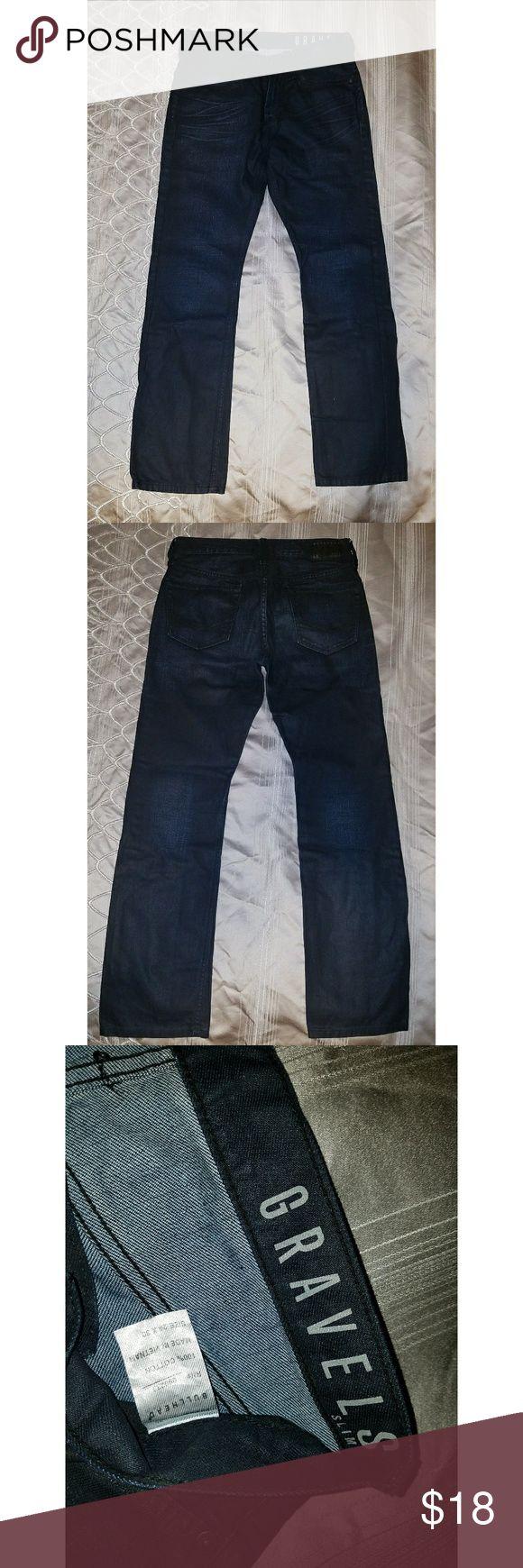 Bullhead Slim Fit Raw Denim in Dark Indigo Rock out in these classic Raw Denim Jeans from the Bullhead Gravels collection. Dark Indigo and Slim fit, W29 x L30. Very Gently used. Bullhead Jeans Slim