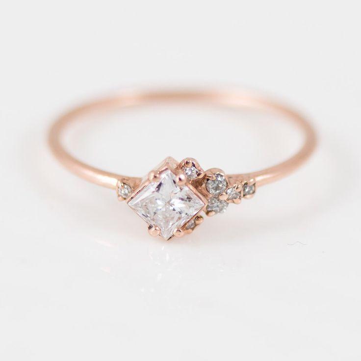Princess Cut White Diamond Ring: Asymmetrical Diamond Mini Cluster Ring in 14k Gold // Rose Gold Diamond Engagement Ring by MelanieCaseyJewelry on Etsy https://www.etsy.com/ca/listing/477535335/princess-cut-white-diamond-ring