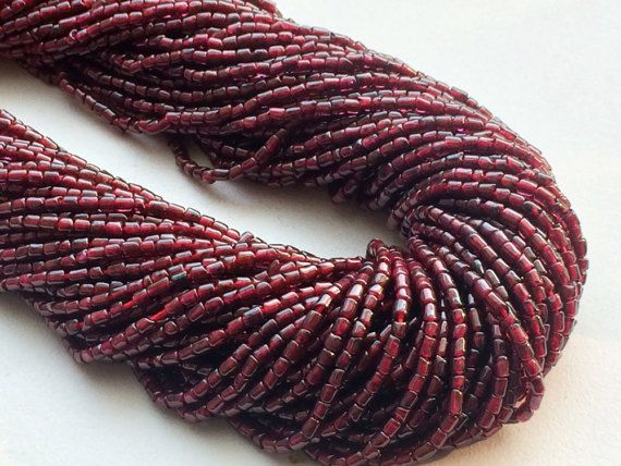 Garnet Beads Garnet Plain Tiny Tube Beads Natural by gemsforjewels