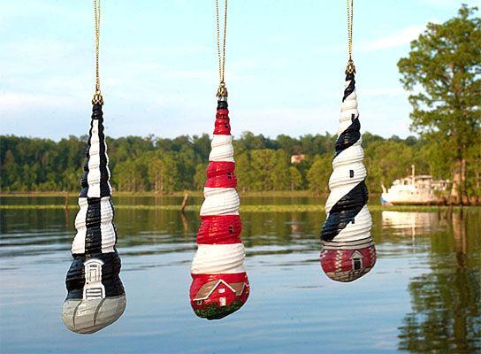 Sea Lights Lighthouses Set Hand Painted Seashell Ornaments