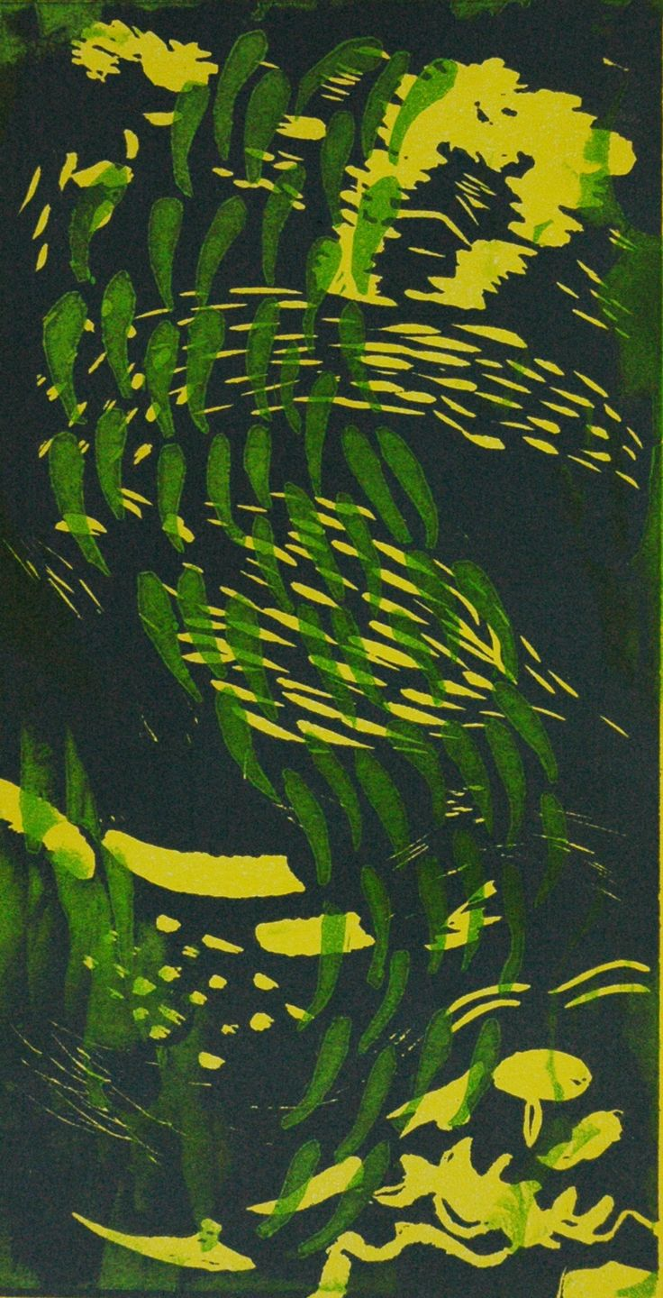 Fish green/yellow by Angela Mellen. Lino Print